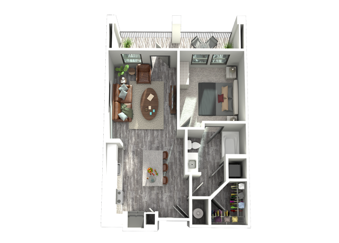 A1-One Bedroom/One Bath- 684 sf Floor Plan 2
