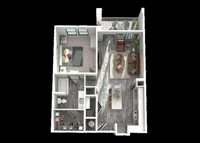 A2- One Bedroom/One Bath- 742 sf Floor Plan 3
