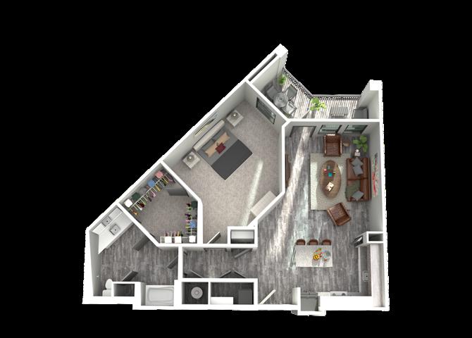 A4- One Bedroom/One Bath- 865 sf Floor Plan 5
