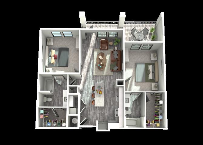 B1- Two Bedroom/Two Bath- 1,064 sf Floor Plan 8