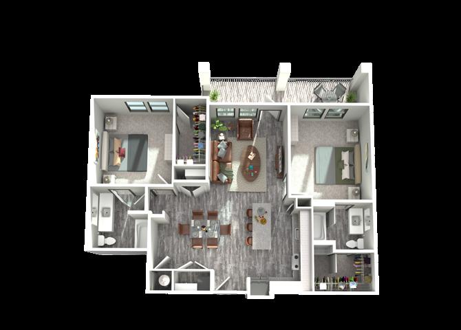 B2- Two Bedroom/Two Bath- 1,187 sf Floor Plan 11