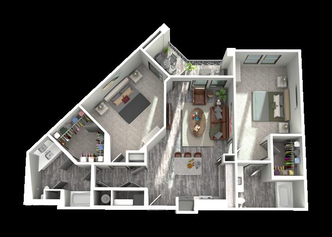 B3- Two Bedroom/Two Bath- 1,229 sf Floor Plan 12