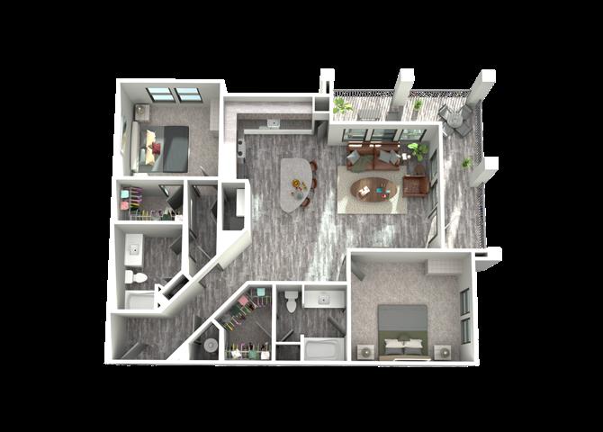 B4- Two Bedroom/Two Bath- 1,295 sf Floor Plan 13