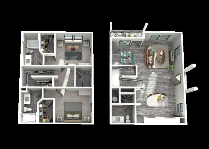 B5- Two Bedroom/Two Bath- 1,445 sf Floor Plan 14