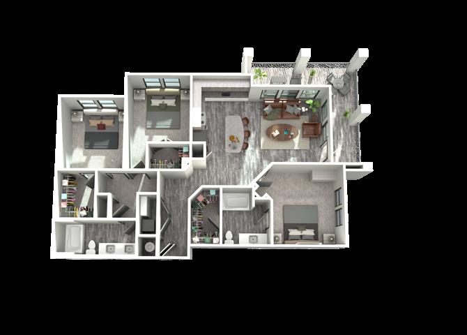 C1- Three Bedroom/Two Bath- 1,394 sf Floor Plan 15