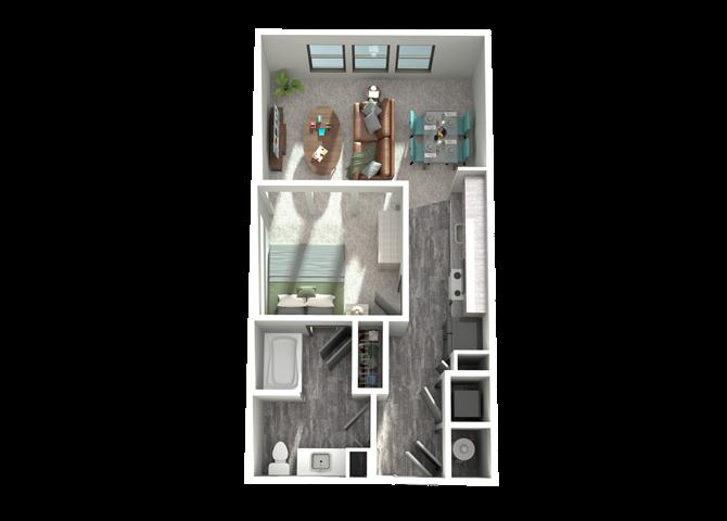 S1- One Bedroom/One Bath- 612 sf Floor Plan 1
