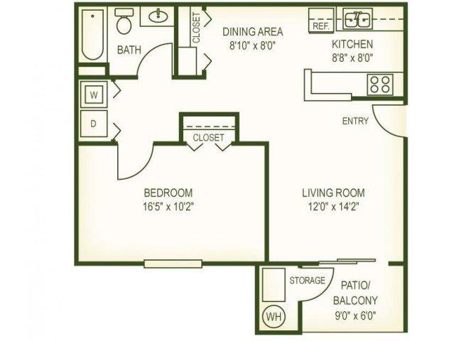1 Br Floor Plan 1