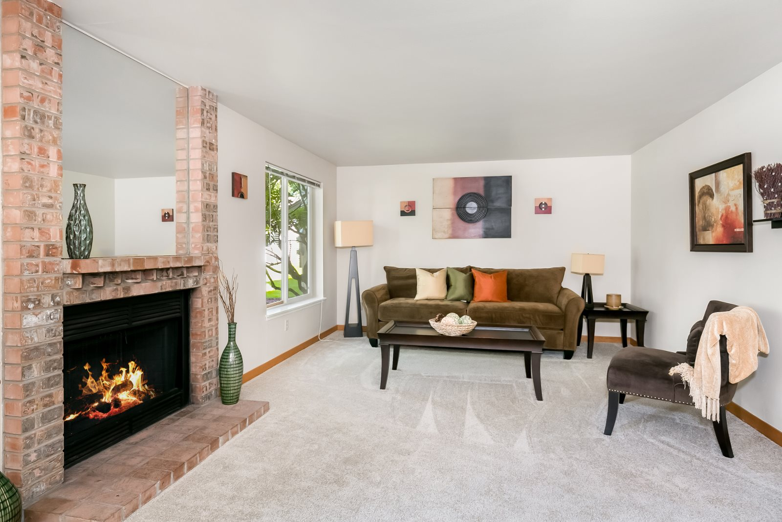 Wood burning fireplaces in spacious one, two, and three bedroom floor plans