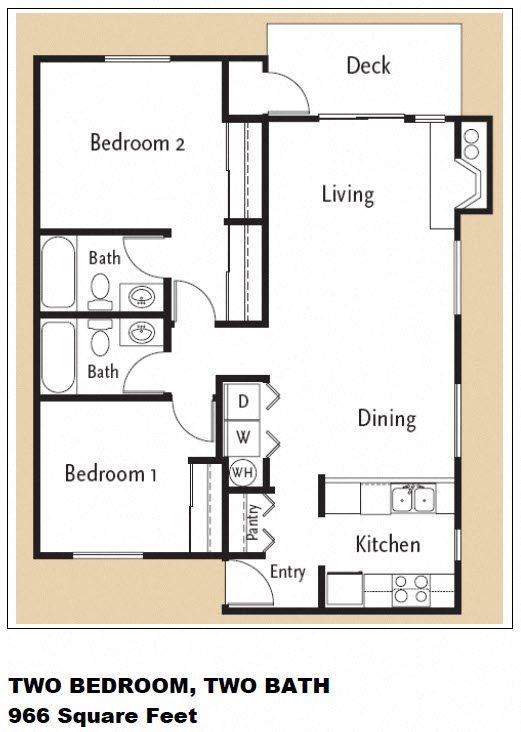 2 Bedroom 2 Bath Floor Plan 4