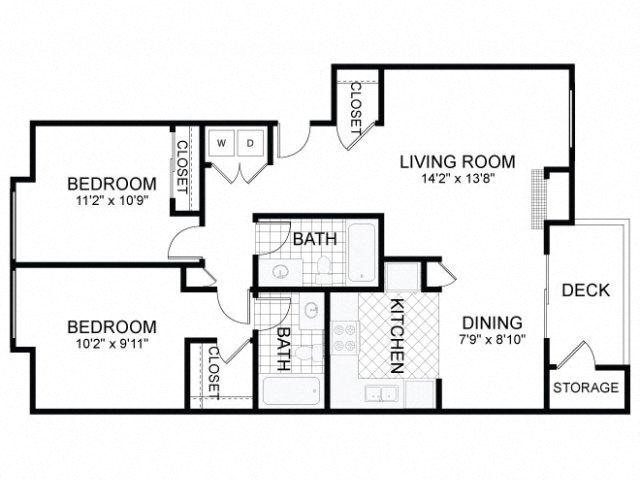 2 Bed 2 Bath B Floor Plan 3