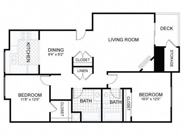 2 Bed 2 Bath A Floor Plan 4
