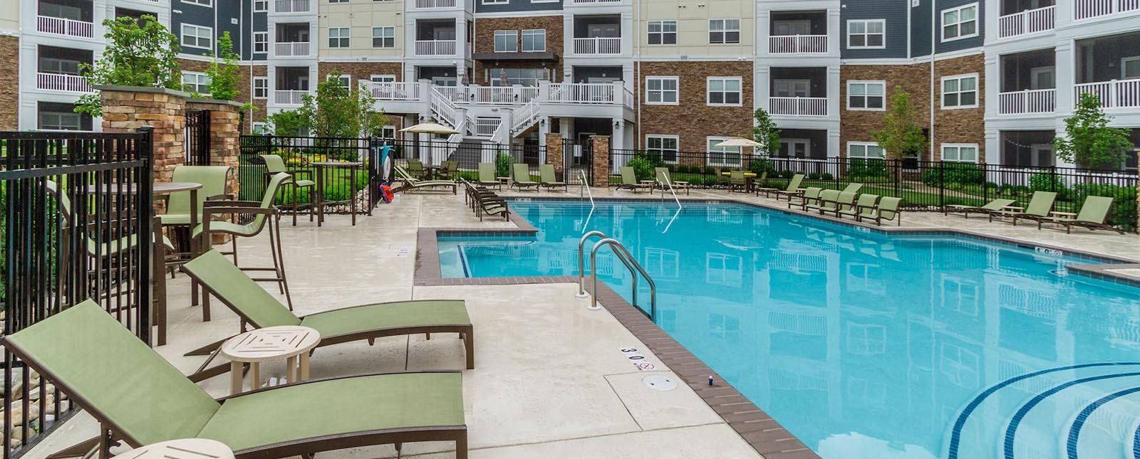 Poolside lounge of The Haven luxury apartments in Malvern, PA