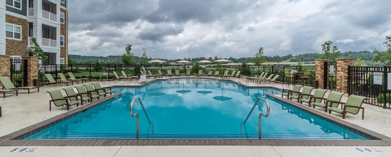 Pool lounge view of The Haven luxury apartments in Malvern, PA