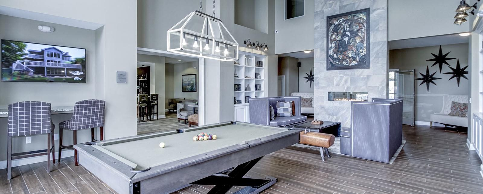 Billiards game at The Haven luxury apartments in Malvern, PA