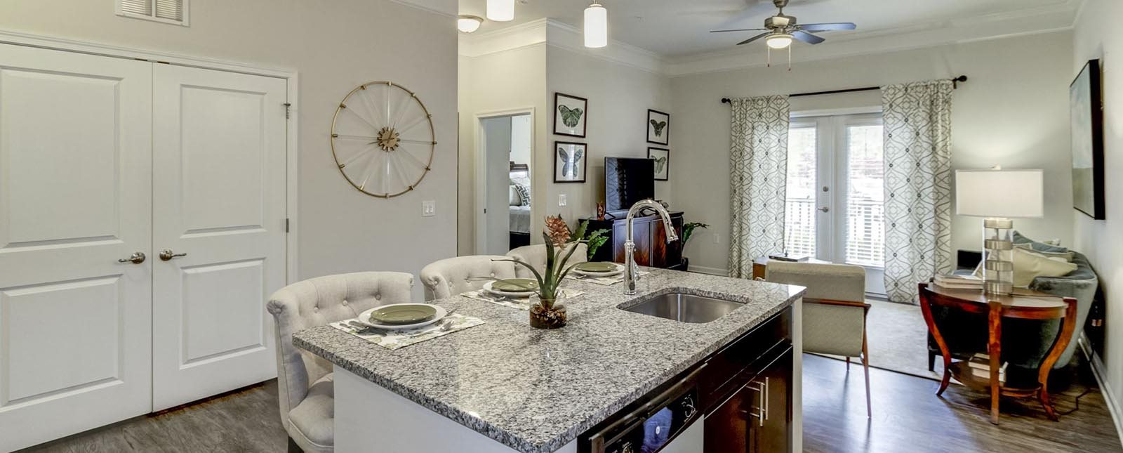 Kitchen Island of The Haven luxury apartments in Malvern, PA