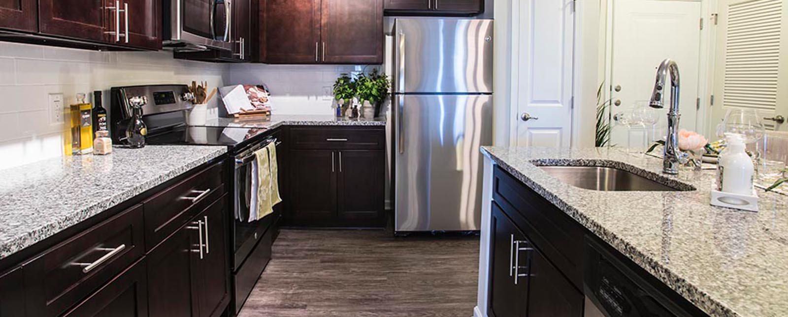 Kitchen countertop of The Haven luxury apartments in Malvern, PA