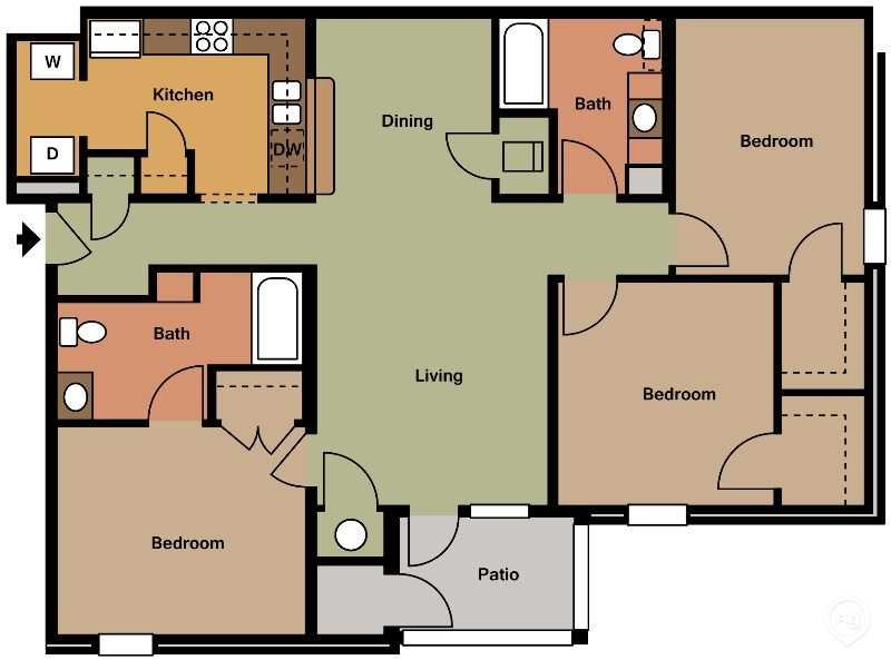 Three Bed Two Bath Floor Plan 1