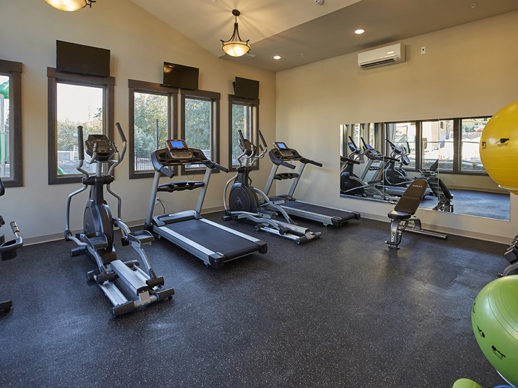 Full body work out center includes cardio, weights, and strength training equipment.