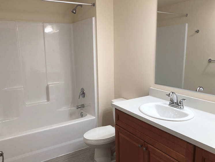 Image of a bathroom featuring a vanity mirror, single sink, and a tub and shower combo.