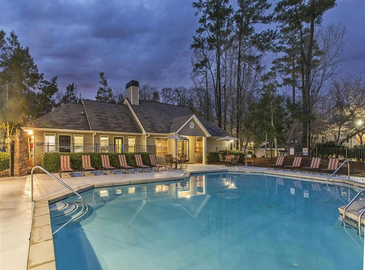 Sparkling Swimming Pool with Lounge Chairs to Enjoy a Relaxing Moment at Addison on Cobblestone Apartment Homes, Fayetteville, GA 30215