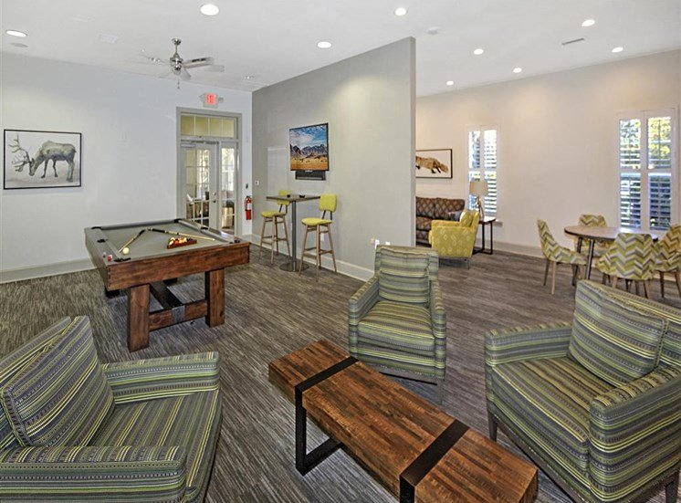 Social Clubroom with Entertaining Space and Billiards Lounge at Alden Place at South Square Apartments, Durham, NC 27707