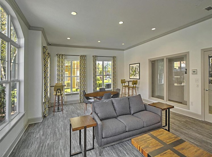 Leasable Event Space with Couches and Seating for 8 with Bright Open Windows and Carpet at Alden Place at South Square Apartments,Durham, NC 27707