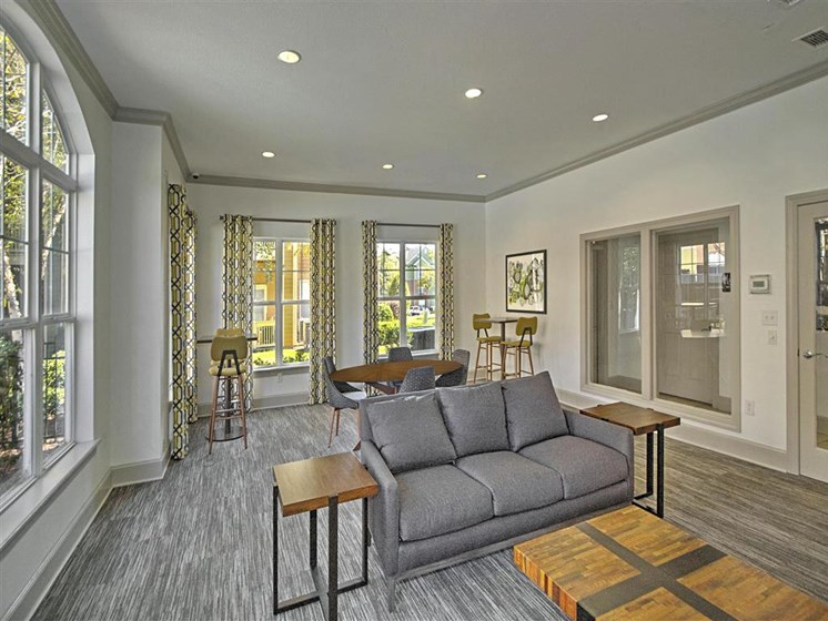 Leasable Event Space with Couches and Seating for 8 with Bright Open Windows and Carpet at Alden Place at South Square Apartments, Durham, NC 27707