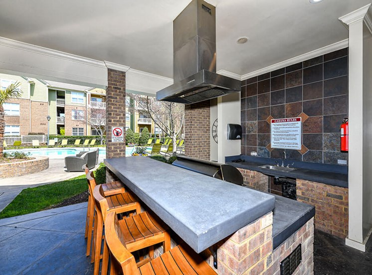 Outdoor Entertainment Space with Gas Grill and Bar Height Seating and Amble Counterspace at Alden Place at South Square Apartments, Durham, NC 27707