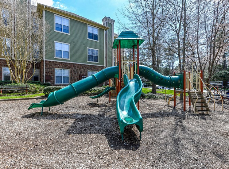 Children have a place to run at Alden Place too! Slides, Climbing Equipment and Bike Parking at Alden Place at South Square Apartments, Durham, NC 27707