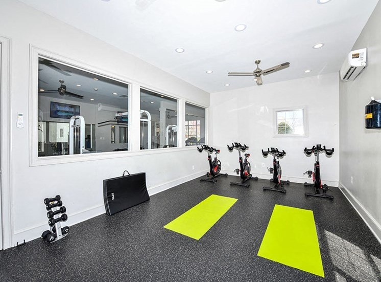 Health and Fitness Club with Indoor Spin Studio and Cardio and Weight Training at Alden Place at South Square Apartments,Durham, NC 27707