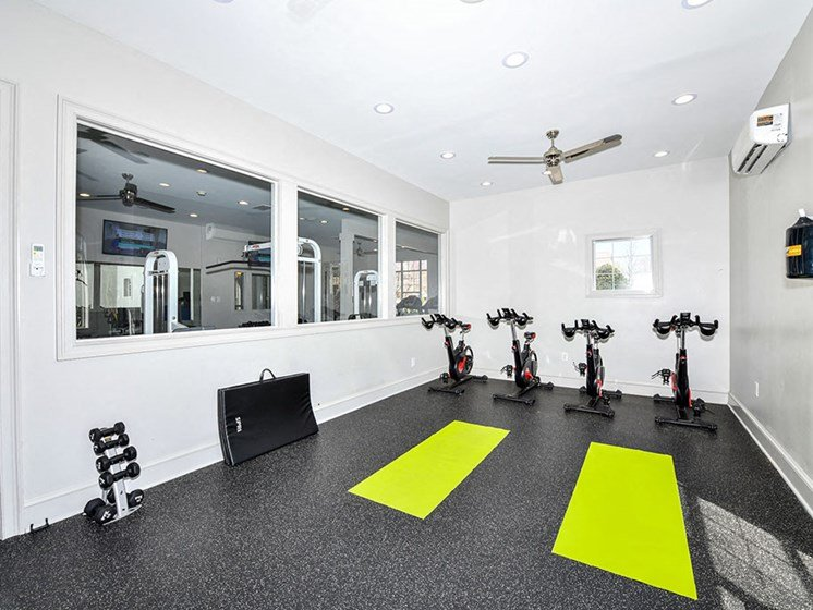 Health and Fitness Club with Indoor Spin Studio and Cardio and Weight Training at Alden Place at South Square Apartments, Durham, NC 27707