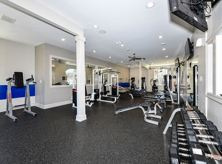 State of the Art Fitness Center featuring Wellbeats™ with Cardio and Weight Training and Flat Screen TVs at Alden Place at South Square Apartments, Durham, NC 27707