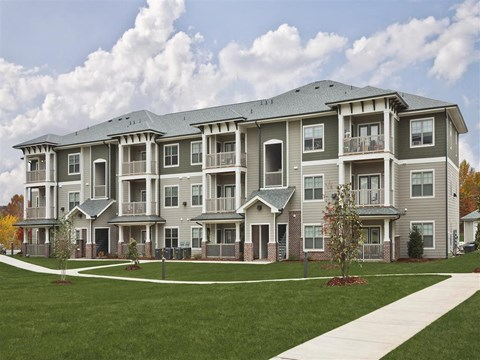 Modern Exteriors Give a Wonderful First Impression of Ansley at Roberts Lake. Enjoy our Walking Trail around the Private Pond at Ansley at Roberts Lake Apartment Homes, Arden, NC, 28704?