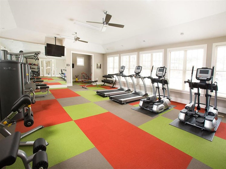 State of the Art Fitness Center with Cardio & Free Weights and Flat Screen TV at Ansley at Roberts Lake Apartment Homes, Arden, NC, 28704