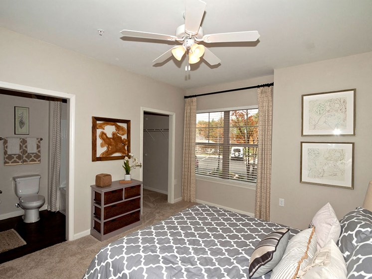 Large Windows in Bedrooms Plus Ceiling Fans and Walk-In Closets at Ansley at Roberts Lake Apartment Homes, Arden, NC, 28704