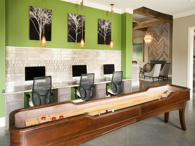 Resident Technology Center with 3 iMac Computer Stations & Game Room with Activities at Ansley at Roberts Lake Apartment Homes, Arden, NC, 28704
