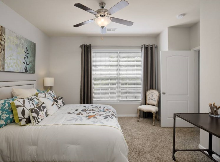 Guest Bedroom Feels Large and Spacious with Impressive 9 Foot Ceilings and Large Walk-In Closets at Cambridge Square Apartments, Overland Park, KS 66211
