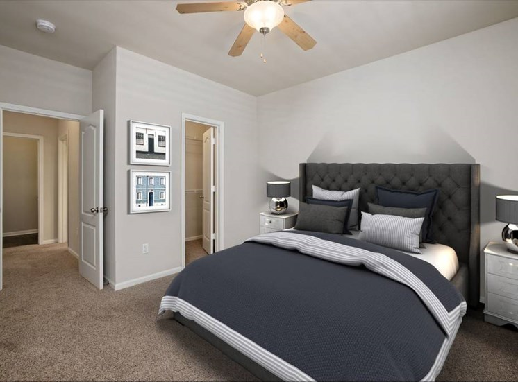 Bedroom Feels Large and Spacious with Impressive 9 Foot Ceilings and Large Walk-In Closets at Cambridge Square Apartments, Overland Park, KS 66211