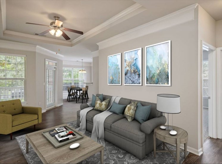 Living Room at Cambridge Square in Overland Park, KS