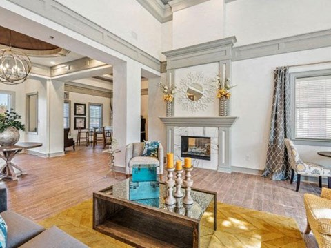 Renovated Clubhouse with Large Vaulted Ceilings, Multiple Amenities for Residents and Entertainment Space at Cambridge Square Apartments, Overland Park, KS 66211