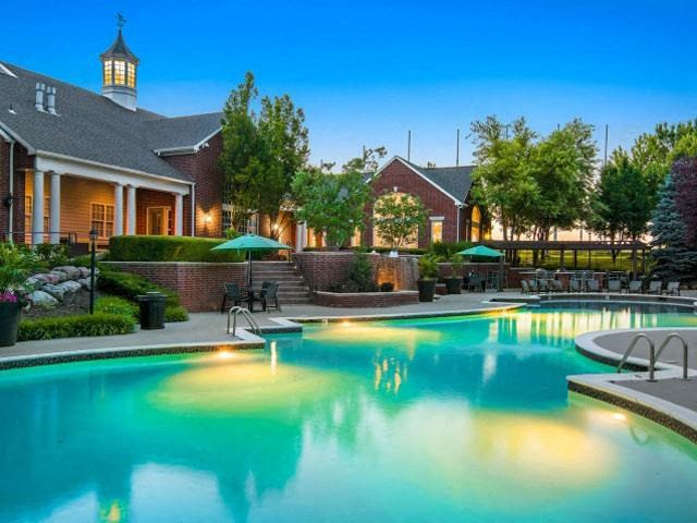 Refreshing Swimming Pool with Relaxing Poolside Patio at Cambridge Square Apartments, Overland Park, KS 66211