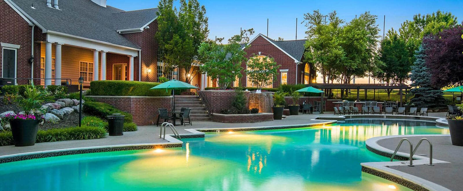 Refreshing Swimming Pool with Relaxing Poolside Patio a Cambridge Square Apartments, Overland Park, KS 66211