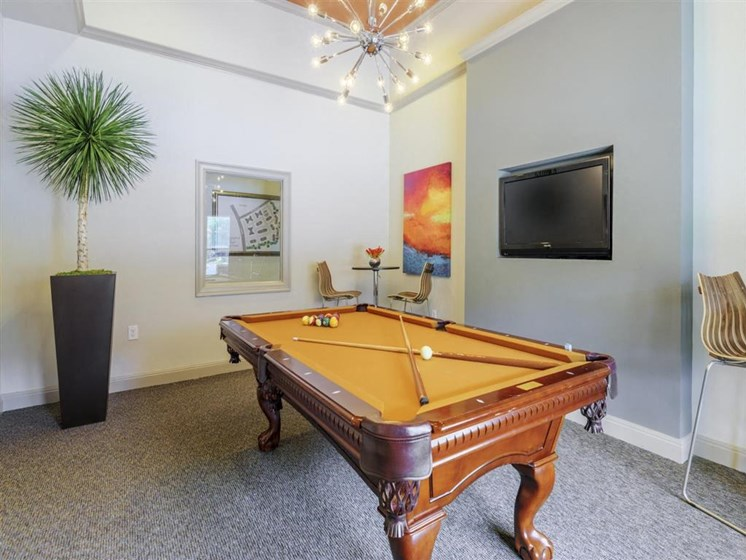 Social Clubroom with Entertaining Space and Billiards Lounge at Carrington Park At Gulf Pointe, Houston, TX 77089