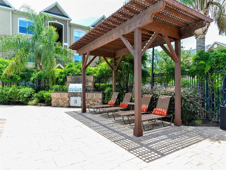Refreshing Swimming Pool and Relaxing Lounge Cabana Areas at Carrington Park At Gulf Pointe, Houston, TX 77089