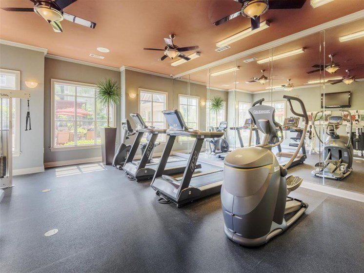 Strength Training Center with Cardio Machines, Weight Training and Flat Screen TVS to Enjoy during your Workout at Carrington Park At Gulf Pointe, Houston, TX 77089