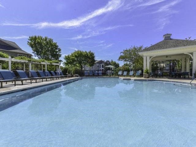 Pool Side Relaxing Area With Sundeck at Columns at Wakefield, North Carolina