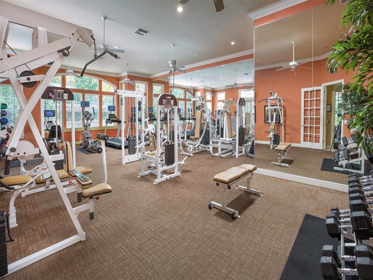 State-of-the-Art Fitness Pavilion with Free Weights at Courtney Bend Apartment Homes, Hardeeville, SC 29927