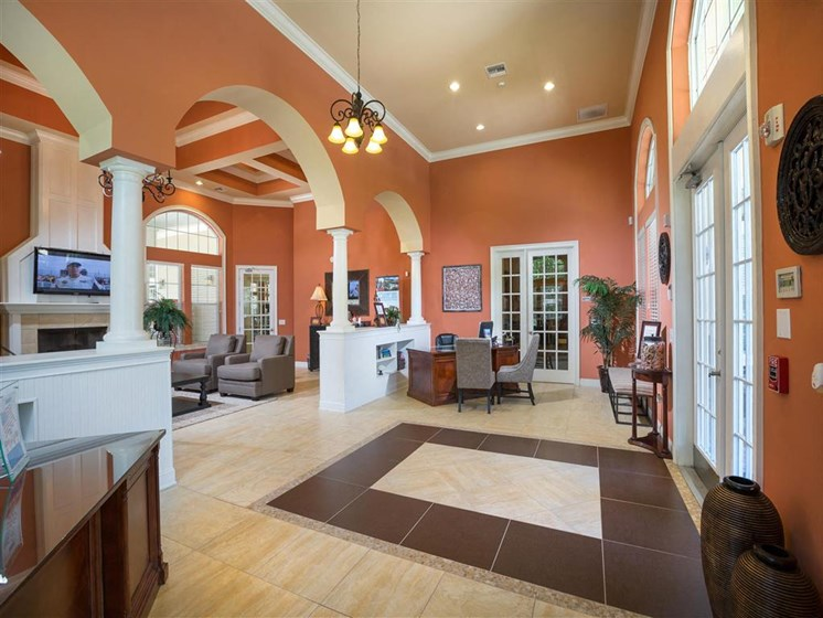 Modern Clubhouse with Lounge Chairs and Amble Amenities at Courtney Bend Apartment Homes, Hardeeville, SC 29927