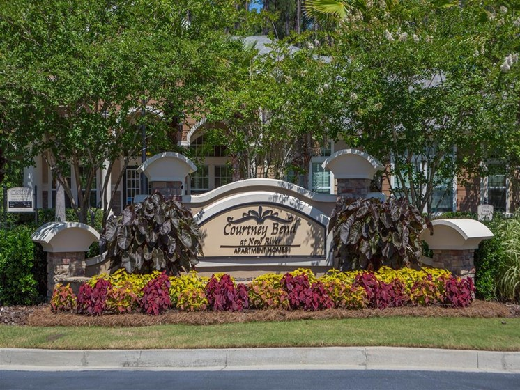 Lush landscaping surrounds you as you drive into Courtney Bend Apartment Homes, Hardeeville, SC 29927
