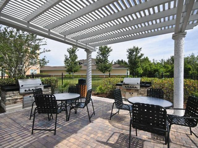 Outdoor Gas Grilling Pavilion and Lounge Area around the Resort Style Swimming Pool at Courtney Isles Apartment Homes, Yulee, FL 32097